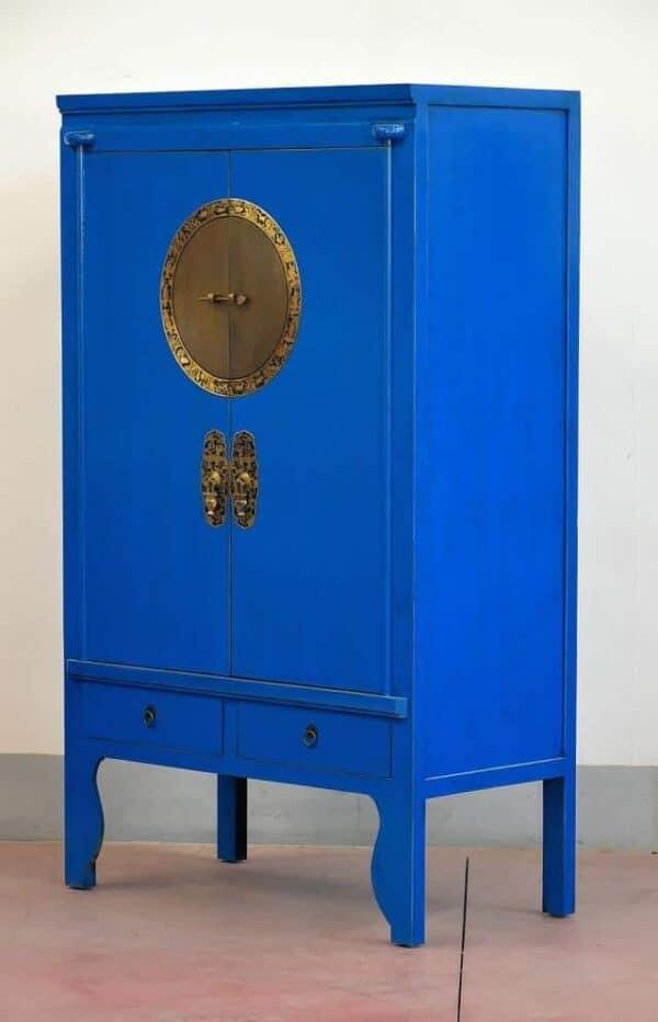 Armadio-cinese-della-sposa-lacca-blu-Medaglione-con-oroscopo_1